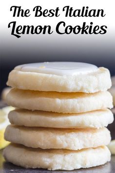 Perfect melt in your mouth Lemon Cookies. If you love anything lemon then you are going to love these cookies. Light and easy to make, with a tasty lemon glaze, they are sure to satisfy any lemon lover! This easy lemon cookie recipe is great for summer or anytime you fancy a citrusy treat! #lemoncookies #cookies Lemon Desserts, Lemon Recipes, Cookie Desserts, Just Desserts, Sweet Recipes, Baking Recipes, Cookie Recipes, Delicious Desserts, Dessert Recipes
