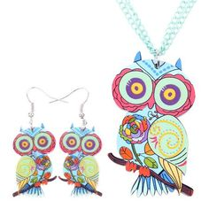 Colorful Owl Drop Earrings Acrylic Dangle Multi-colored Wise Owl