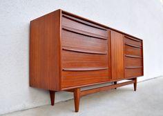 HANS WEGNER for Carl Hansen & Son Danish Modern / Mid-Century Teak Credenza Buffet Sideboard Dresser 1950s. $3,975.00, via Etsy.