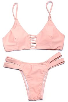 Light #Pink Solid Strappy #CutOut V Neck #BikiniSet - Swimandtan