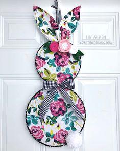 Embroidery Hoop Bunny Door Hanger - cutest DIY easter wreath craft to make on a budget!