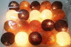 string lights classic brown cotton ball 20 party patio by candoall