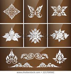 Set of Thai art culture vector,Thai traditional ornament. Cambodian Art, Foam Carving, Thai Pattern, Thai Design, Thailand Art, Mehndi Art Designs, Engraving Art, Thai Art, Learn Art
