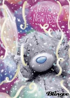 """""""Happy New Year and abundant blessings to you, my beautiful friend! Cute Christmas Quotes, Christmas Quotes For Friends, Christmas And New Year, Christmas Albums, Happy New Year Gif, Happy New Year Images, Happy Birthday Images, Teddy Bear Quotes, Teddy Bear Cartoon"""