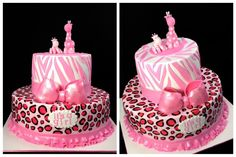 Wild Safari Pink Baby Shower Cake - Pink Safari baby shower themed cake that was inspired by the client's invitation. Hand painted leopard print. Edible accents/decors.