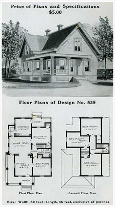 Radford American Homes: 100 Houses Illustrated provides ample illustrations of the types of homes coveted by Americans at the turn of the century. Sims House Plans, Small House Plans, 1900s House, Vintage House Plans, Vintage Homes, Farmhouse Floor Plans, Craftsman Style House Plans, Second Empire, House Blueprints