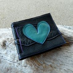 Recycled Leather Love Heart Travel Diary Black and by AriomDesigns