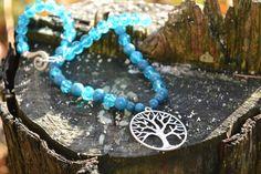 """Ketten kurz - Kette """" Baum des Lebens"""" mit indischen Saphire - ein Designerstück von wollkaethe bei DaWanda"""