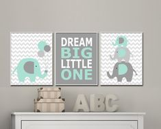 Elephant Nursery Art.  Baby Boy Nursery Art Prints. Nursery Wall Art and Nursery Decor in Mint and Grey. Dream Big Little One Quote - H154