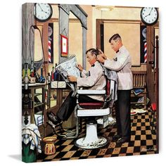 "Marmont Hill - ""Barber Getting Haircut"" by Stevan Dohanos Painting Print on"