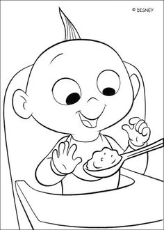 Coloring page of the baby of the Increbibles Jack Jack. A cute coloring page about the famous disney movie The Incredibles,