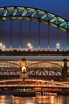 Four of the famous bridges across the Tyne. The Tyne Bridge, the Swing Bridge, the High Level and the Metro Bridge, Newcastle upon Tyne, England.