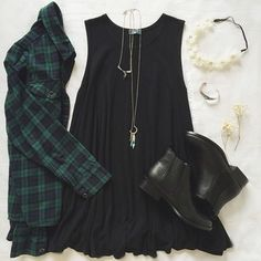 Image via We Heart It #boots #dress #flannel #nirvana #shorts #yinyang #croptop #bandmerch