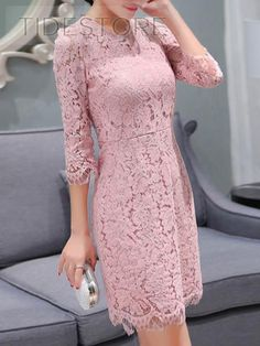 Slim Solid Color Long Sleeve Lace Dress