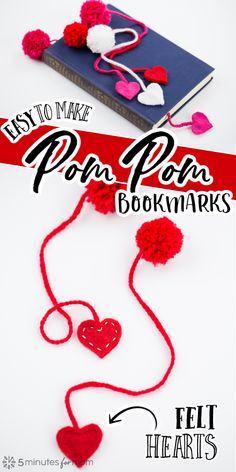 How to Make Yarn Pom Pom Bookmarks with Felt Hearts - Cute DIY Gift Idea #crafts #diygift #DIYbookmark #bookmarks #pompombookmark Craft Tutorials, Diy Projects, Handmade Bookmarks, Happy Hearts Day, Valentines Day Activities, Craft Corner, Crafts For Kids To Make, Valentine's Day Diy, Activity Ideas