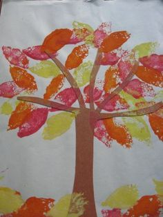 Fall Sponge Painting- Cut sponges into the shape of leaves and dip them into different fall colors. Press them on the construction paper with the tree trunk.