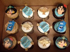 Cupcakes were topped with hand drawn characters and hand molded rugs and lamps. Aladdin Birthday Party, Aladdin Party, Birthday Party Desserts, Boy Birthday Parties, Birthday Cupcakes, Cupcakes For Boys, Cute Cupcakes, Themed Cupcakes, Ladybug Cupcakes