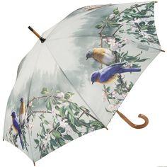 Hautman Brothers Art Print Walking Length Umbrella - Blue Birds - Brolliesgalore