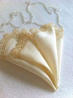 SOLD Vintage Handkerchief Antique  Linen   Crocheted