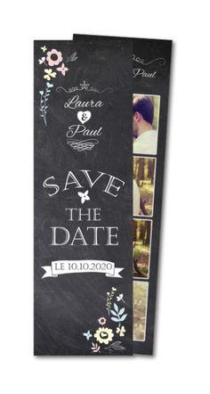 Save the date ardoise et arabesques en fleurs Planet-cards #savethedate #ardoise