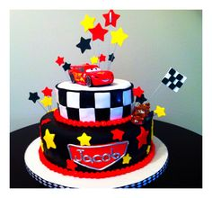 Cars cake for an awesome 1 year old! Disney Cars Birthday, Cars Birthday Parties, Car Cakes For Boys, Lightning Mcqueen Birthday Cake, Mcqueen Cake, Cars Birthday Invitations, Hot Wheels Birthday, First Birthday Photos, Occasion Cakes