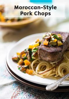 Easily put an exotic spin on dinnertime with these flavorful pork chops, which are rubbed with a Moroccan spice blend, served over apple noodles, and finished with a date and apricot chutney! This dinner recipe is much easier than it looks.
