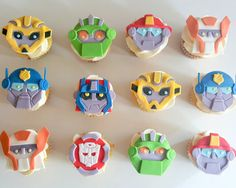 rescue bot transformers birthday party fondant cupcake toppers