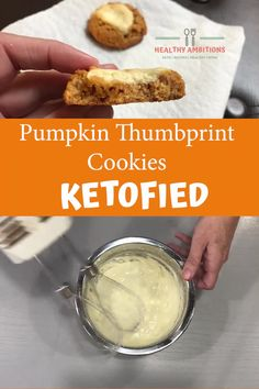 Keto Pumpkin Cheesecake Thumbprint Cookies are so easy to make, you'll want to make a batch every week! Fun for the whole family :) Pumpkin Cake Recipes, Pumpkin Cookies, Pumpkin Cheesecake, Keto Friendly Desserts, Low Carb Desserts, Low Carb Recipes, Crazy Cookies, Keto Cookies, Keto Snacks
