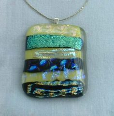 Dichroic Fused Glass Pendant Necklace Yellow Pink Purple Iridescent Colors Jewelry