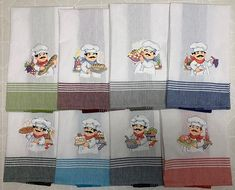 Machine embroidered tea towels with this magical chef in the kitchen! #oesdembroidery #machineembroidery #oesdembroiderydesigns #teatowels #embroideredteatowels