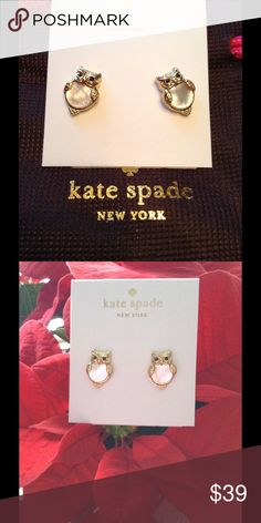 """Authen. Kate Spade Owl Earrings w/Mother of Pearl. New Authentic Kate Spade Owl Earrings w/Mother of Pearl. Into the Woods collection. 12kt  gold plated. 1/2"""" X 1/4"""" kate spade Jewelry Necklaces"""