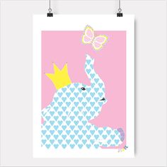 Jubel, jubelshop.no, elephant, butterfly, birthday, kids interior, plakat, posterdesign, nursery, kidsroom, kids room, kidsroom, kidsdesign, poster