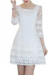 Embroidery Round Neck Skater-dress