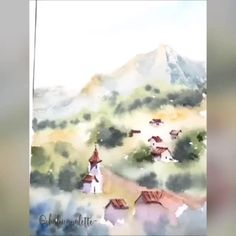 Watercolor Painting Techniques, Watercolor Video, Watercolor Sketch, Watercolor Landscape, Artist Painting, Watercolor Illustration, Painting & Drawing, Watercolor Paintings, Watercolor Night Sky