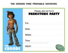 The Croods Free Printable Invitations