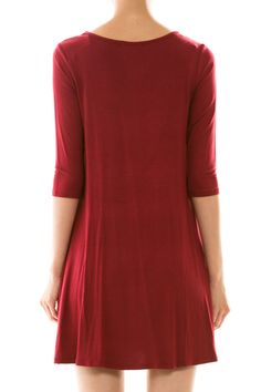"""9/16/14 870-D1610 Solid Color Shift Dress w/Pocket in 3 colors (Burgundy, Black and Teal). Available in S, M or L. 95% Rayon, 5% Spandex. 34"""" Long. Made in USA."""