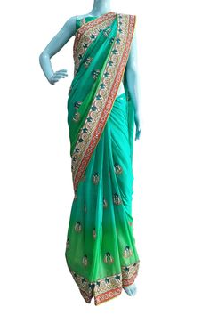 Buy Now Green Embroidery Pure Georgette Designer Choice Saree with Pure Dhupian Blouse only at Lalgulal.com. Price :- 11,096/- inr. To Order :- http://goo.gl/w420Hp COD & Free Shipping Available only in India.