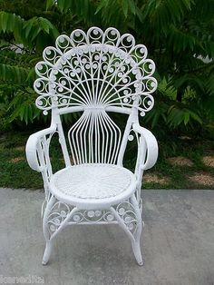 Gorgeous Peacock Wicker Scroll Work Chair Victorian Shabby Chic Cottage White | eBay