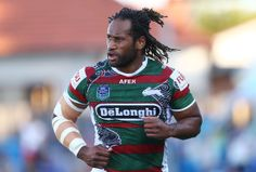 South's wing Lote Tuqiri runs on to the field for the NRL trial match between the Canterbury Bulldogs and the South Sydney Rabbitohs at Belm. Canterbury Bulldogs, Fan Picture, Rugby League, Pose Reference, Football Team, Trials, Champs, Sydney, Poses