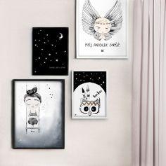 mój aniołek stróż, pokój dziewczynki, girlsroom, girlsprints, prints for girls, plakaty dla dziewczynek, plakat niebo, czarne plakaty dla dzieci