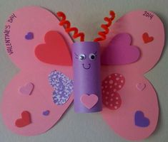 Paper Roll Butterfly | DIY Valentines Art for Kids to Make | Easy Valentines Art for Preschoolers