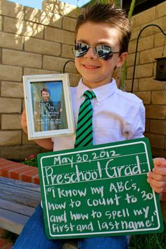 When my son started preschool I took his picture with a sign saying the grade and what he wanted to do when he grows up.  Today he finished preschool so I took a new pic with his first day one and wrote what he learned!