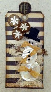 Snowman Tag --- Buttons, stripes and snowflakes