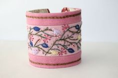 Hand Embroidery pink pastel Wildflower Romance Bracelet Featured In CrossStitch and Needlework