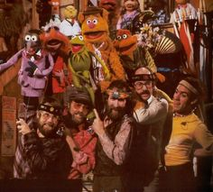 On the set of the Muppet Show - Dave Goelz, Jerry Nelson, Jim Henson, Frank Oz, Richard Hunt