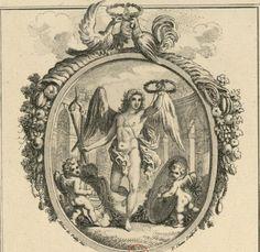 """Troisième médaillon allégorique, ovale, surmonté de l'aigle d'Autriche et du coq gaulois qui """"se becquettent en signe d'alliance conjugale"""", et orné de deux cornes d'abondance renversées - Estampe."""