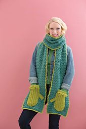 Cozy Mitten Scarf published in Handy Pocket Scarves.