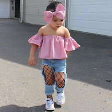 Fashion Summer Toddler Kids Baby Girl Off Shoulder T-Shirt Tops Clothes Outfits