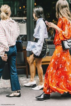 Street Style_ wardobe ideas for SS17 ~ statement sleeved shirts, faux leather mini, blue denim & printed maxi dress with slash seam detailing || Saved by Gabby Fincham ||