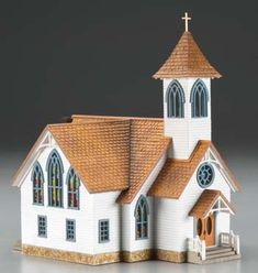Woodland Scenics Community Church HO for sale online Christmas Village Houses, Putz Houses, Bird Houses, Front Porch Railings, Clapboard Siding, Old Churches, Glitter Houses, Ceramic Houses, Theme Noel